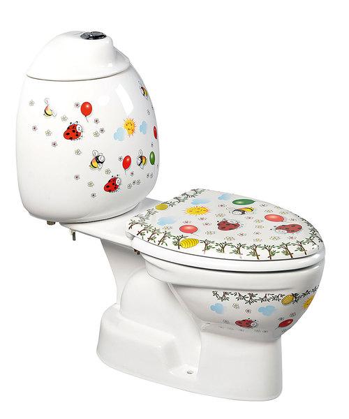 KID gyermek kombi WC tartállyal, alsó kifolyású, színes mintával (CK301.400.0F)
