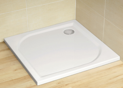 Radaway Delos C 80 szögletes akril zuhanytálca, szifonnal lapos