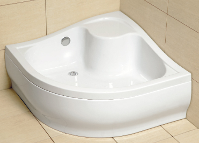 Radaway Korfu A 90 íves magas akril zuhanytálca, lábbal, szifonnal