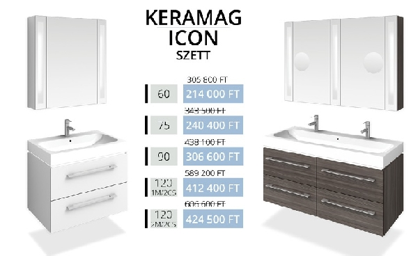 Tboss Akciós KERAMAG ICON SZETT 120 fürdőszobabútor (2M/2CS)