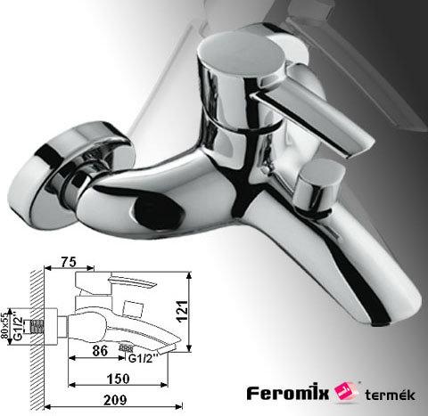 Feromix Adesso kád csaptelep zuhanycsatlakozóval, szett nélkül 150215.1 - Kifutó termék, a készlet erejéig