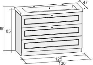 Riho Stanford alsószekrény + 2 csaplyukas kerámia mosdó 130cm (SET24)