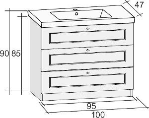 Riho Stanford alsószekrény + kerámia mosdó 100cm (SET21)