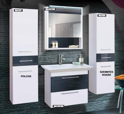 Guido Premium Max ARABELLA (fehér+Grafit) fürdőszoba bútor, komplett