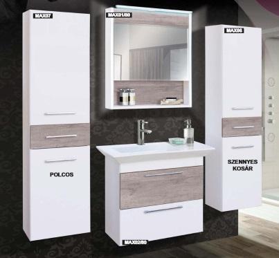Guido Premium Max FREDERIKA (fehér+588 Canyon tölgy) fürdőszoba bútor, komplett