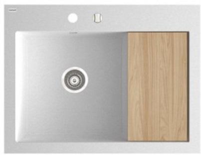 Marmorin Nero szögletes gránit mosogató csepegtetővel 800 x 610 x 207 mm