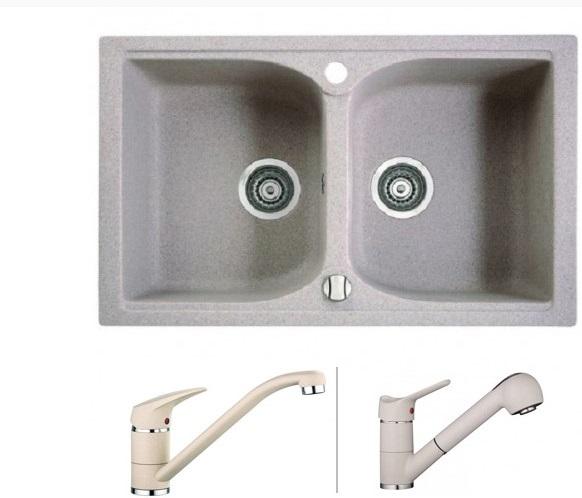 Marmorin Lukka gránit mosogató szögletes 2 medencés 780x480x190 + csaptelep AKCIÓS szett