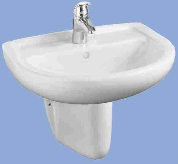 Alföldi Bázis mosdó 60 cm fúrt, túlfolyó nélkül, fehér 4191 57 01