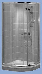 Alföldi Miron 100 x 100 cm, íves zuhanykabin, króm profillal