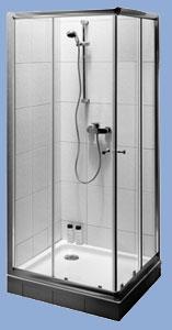 Alföldi Miron 100 x 100 cm, négyzetes zuhanykabin, króm profillal