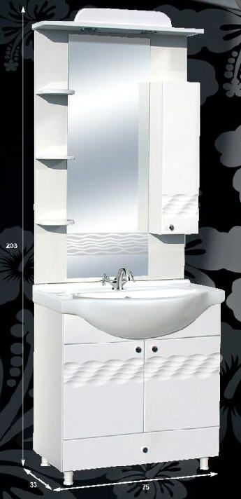 """Guido PORCELÁN """"ÓCEÁN 75"""" fürdőszoba bútor, komplett - több színben rendelhető"""