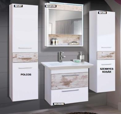Guido Premium Max SOFIA (fehér+antik tölgy) fürdőszoba bútor, komplett