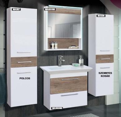 Guido Premium Max GRETA (fehér+587 Country tölgy) fürdőszoba bútor, komplett