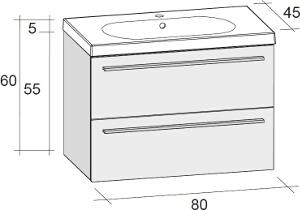Riho Belluno 2 fiókos alsószekrény + kerámia mosdó 80cm (SET05)