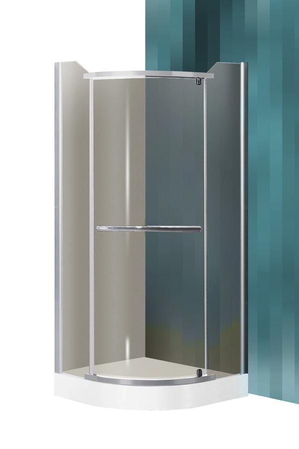 Roltechnik Denver SZETT 90x90 íves,keret nélküli,nyíló zuhanykabin + Dream-P zuhanytálca