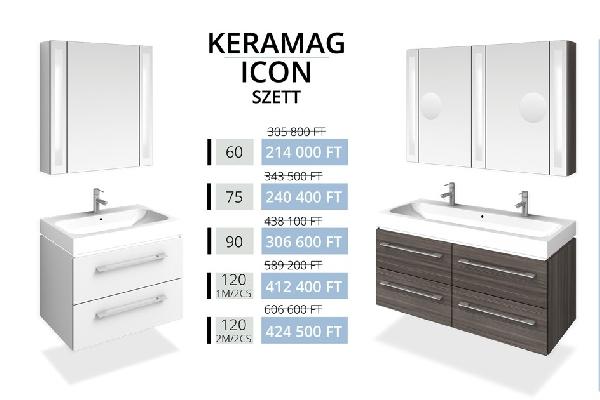 Tboss Akciós KERAMAG ICON SZETT 120 fürdőszobabútor (1M/2CS)