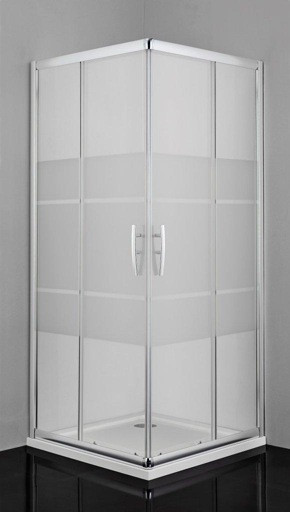 Sanotechnik 2xPro-Line zuhanyajtó csíkos biztonsági üveggel 90x200 cm