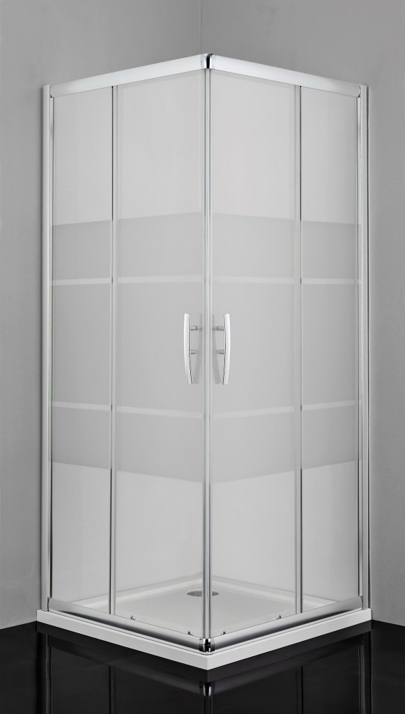 Sanotechnik 2xPro-Line zuhanyajtó csikos biztonsági üveggel 100x200 cm