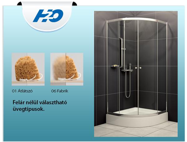 H2o Projecta 90x90 íves zuhanykabin, átlátszó üveggel