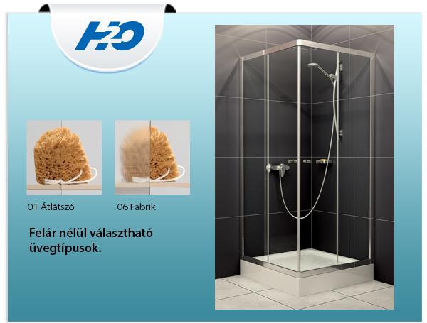 H2o Projecta 90x90 szögletes zuhanykabin, átlátszó üveggel