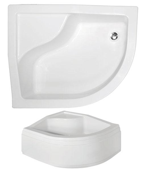 Besco MAXI 100x80x24 asszimetrikus íves, mély, ülőkével zuhanytálca