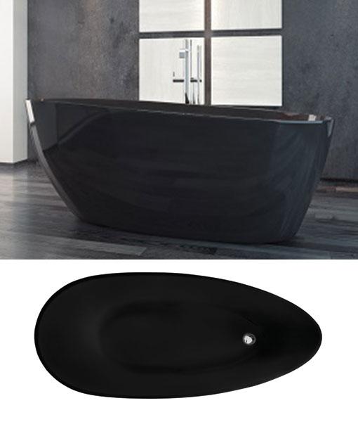 Besco GOYA BLACK 140 XS szabadonálló kád 142x62cm