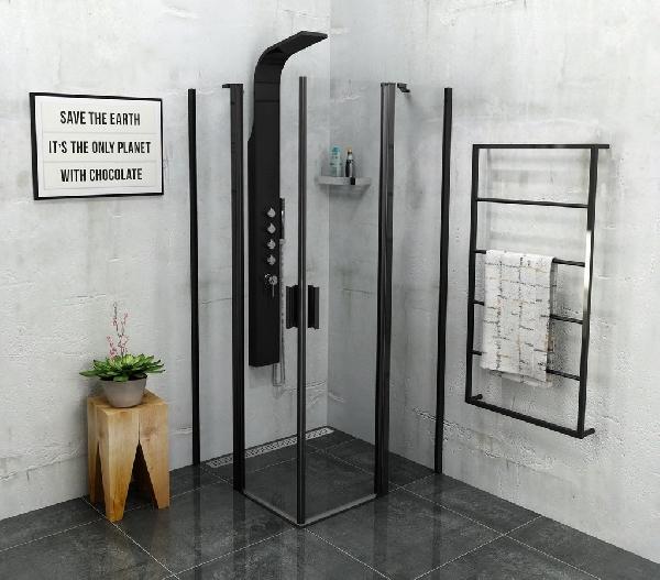 POLYSAN ZOOM LINE BLACK nyíló sarok zuhanykabin, 900x900 mm, transzparent, fekete (ZL5415B)