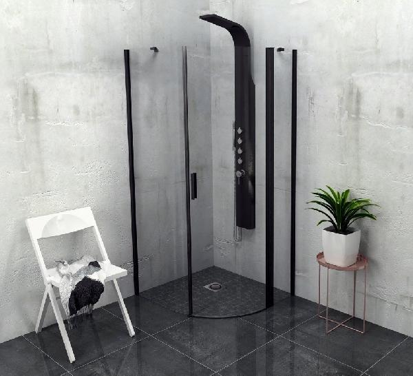 POLYSAN ZOOM LINE BLACK íves zuhanykabin, 90x90 cm, fekete