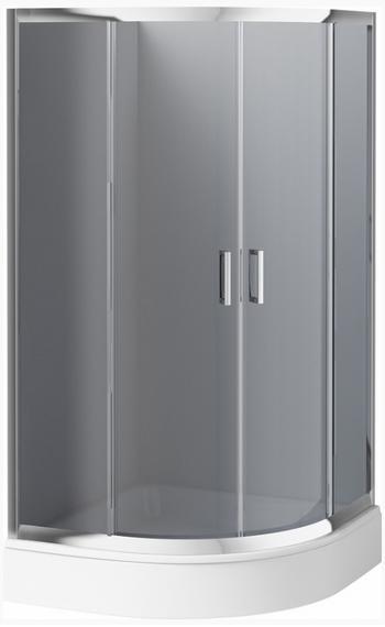 Deante Funkia félköríves zuhanykabin tálca nélkül grafit üveggel, 80x80x170 cm