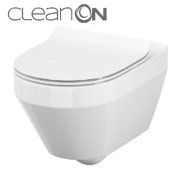 Cersanit Crea CleanOn perem nélküli ovális fali wc (K114-015)