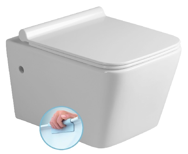 PORTO fali WC, RIMLESS, 36x52cm WC ülőke, SLIM, Soft Close, duroplast, fehér/króm (PZ102R)