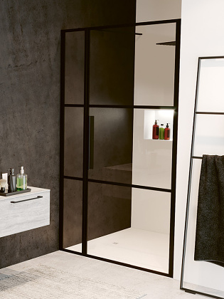 RIHO GRID GB104 zuhanyajtó 110x200cm - matt FEKETE keretes