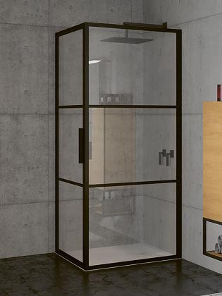 RIHO GRID GB201 zuhanykabin 80x90x200cm - matt FEKETE keretes