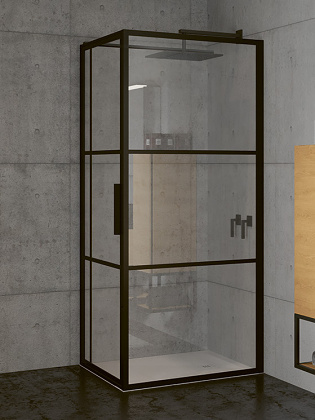 RIHO GRID GB203 zuhanykabin 110x90x200cm - matt FEKETE keretes