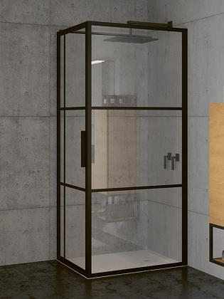 RIHO GRID GB203 zuhanykabin 130x80x200cm - matt FEKETE keretes
