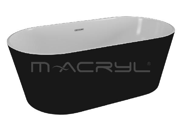 M-acryl VICTORY szabadon álló KÁD 160x80 + ELŐLAP + LÁB (matt fekete)