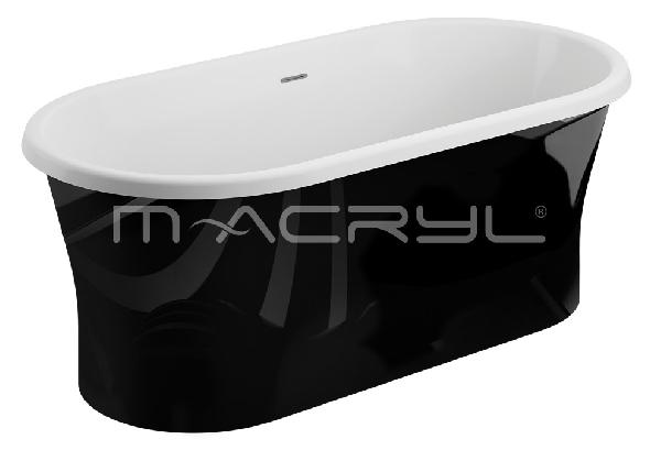 M-acryl LIBERTY szabadon álló KÁD 150x75 + ELŐLAP + LÁB (fekete)