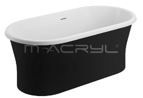 M-acryl LIBERTY szabadon álló KÁD 150x75 + ELŐLAP + LÁB (matt fekete)