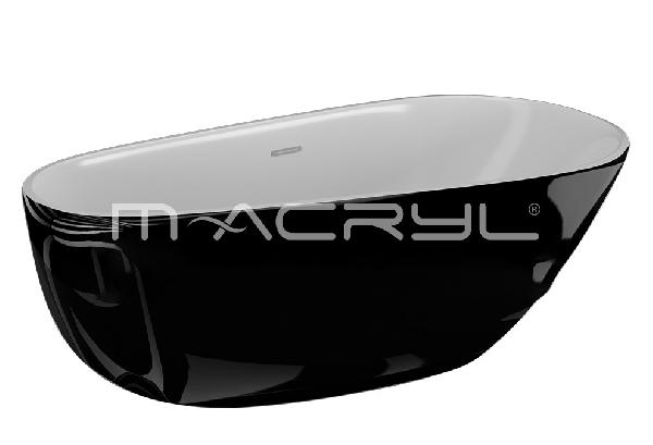 M-acryl BELLE szabadon álló KÁD 170x85 + ELŐLAP + LÁB (fekete)