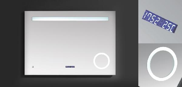 Wellis Rodos fürdőszobai tükör LED világítással, kijelzővel 120×4×70cm
