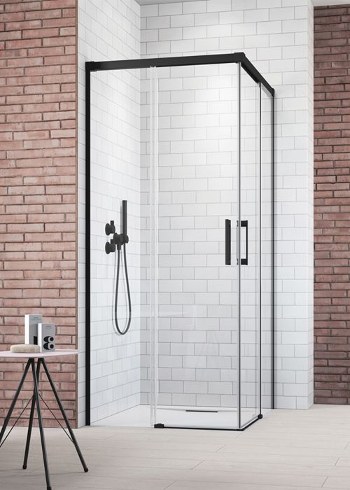 Radaway Idea Black KDD szögletes, tolóajtós 110x110 fekete zuhanykabin