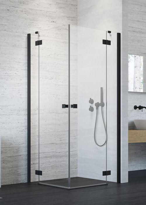 Radaway Essenza New Black KDD szögletes 80x80 fekete zuhanykabin - kifelé nyíló ajtó