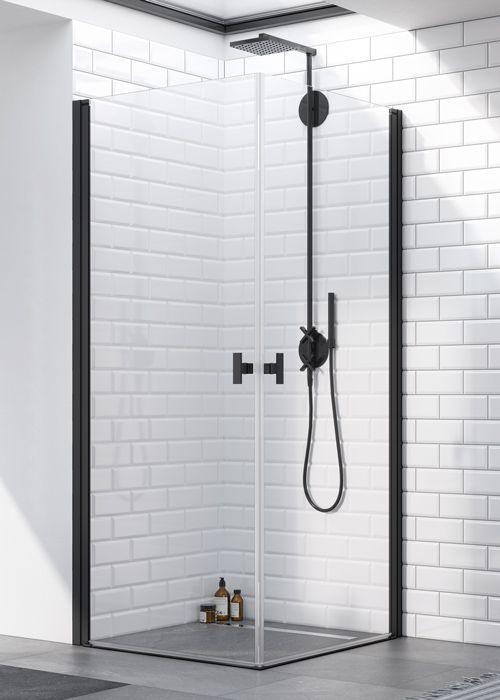 Radaway Nes Black KDD I szögletes 80x100 fekete asszimetrikus zuhanykabin - befelé és kifelé nyíló
