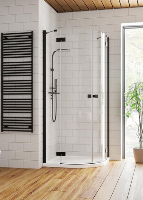 Radaway Essenza New Black PDD íves 100x100 fekete zuhanykabin - kifelé nyíló ajtó