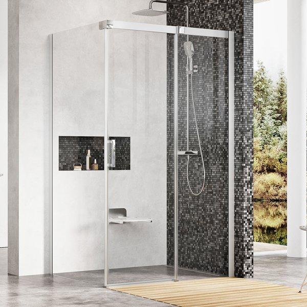 Ravak Matrix MSDPS 80x100x195 tolóajtó+fix oldalas zuhanykabin - krómhatású+Transparent