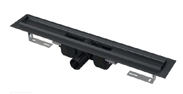 Alcaplast APZ1BLACK-950 zuhanyfolyóka peremmel FEKETE-MATT