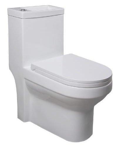 AQUALINE HYGIE monoblokkos WC, alsó/hátsó kifolyású, WC-ülőkével, mosdóval (PB104)