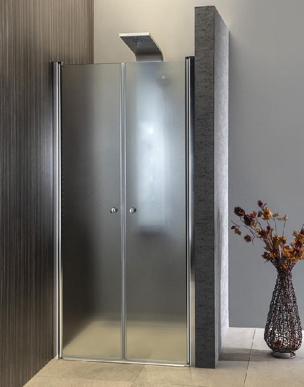 AQUALINE PILOT nyíló zuhanyajtó, duplaszárnyas, 900mm, BRICK üveg (PT092)