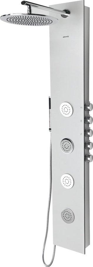 Sapho POLYSAN 5SIDE ROUND zuhanypanel keverő csaptelep, fejzuhannyal, oldal fúvókák, kézizuhany, 250x1550mm, alumínium (80211)