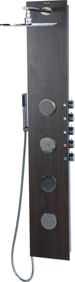 Sapho POLYSAN 5SIDE ROUND zuhanypanel keverő csaptelep, fejzuhannyal, oldal fúvókák, kézizuhany, 250x1550mm, wenge (80213)
